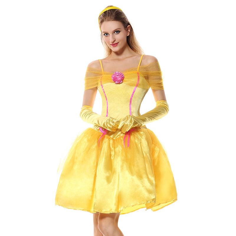Women Fairytale Queen Belle Cosplay Costume Yellow Dress Gloves