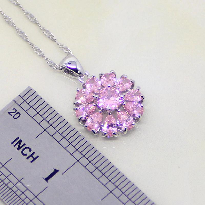Set di gioielli in argento sterling 925 a forma di fiore in zirconi bianchi CZ 925 orecchini da donna / pendente / collana / bracciale