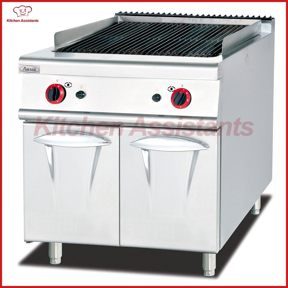 gh989 gas lava rock grill with cabinet of western kitchen equipment