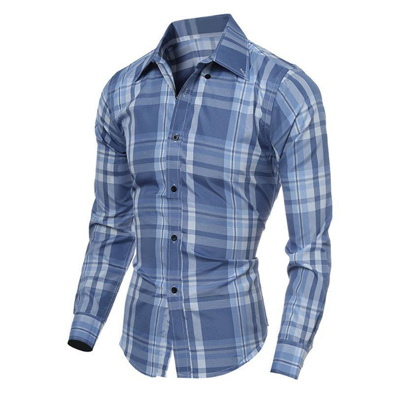 Men Fashion Casual Long Sleeved Lattice Shirt Stylish Slim Fit Male Social Business Formal Shirt Men Clothing Soft Comfortable