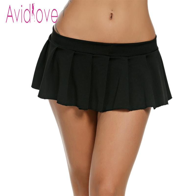 wholesale dealer e2a98 6dd4e Avidlove Sexy Mini Gonne Casual Studentessa Sleepwear Micro Gonna Sexy  Estate Gonne corte Nero Bianco Rosa Blu Plus Size Y1890305