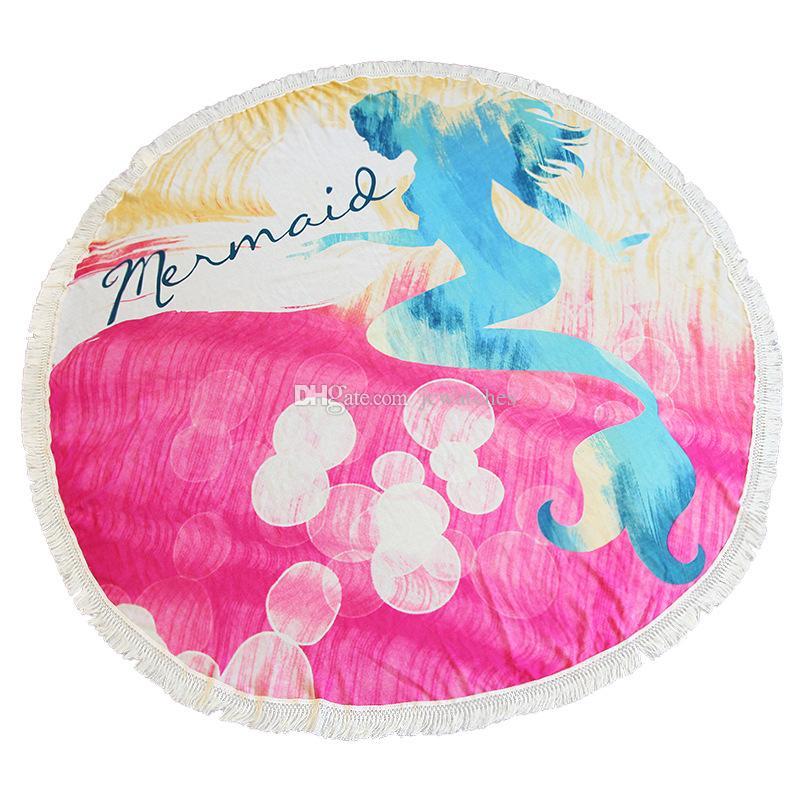 태슬 여성 요가 매트 담요 대형 수영 타올 인어 원형 피크닉 매트와 21 라운드 디자인 비치 타월 도매
