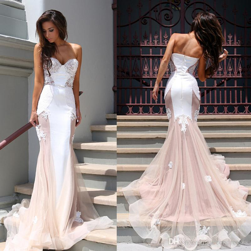 White Champagne Long Evening Dresses Mermaid Sweetheart Sleeveless Lace Applique Tulle Evening Gowns Special Occasion Formal Women Dresses