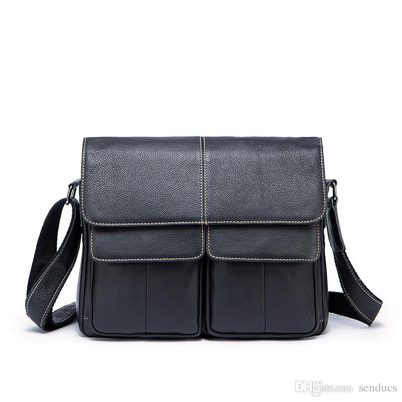 Fashion Men Messenger Bag Men Leather Clutches Genuine Leather Men Bag  Satchels Solid Zipper Crossbody Bags Casual Men s Shoulder Bags Men  Backpack Genuine ... f43124c3c4e31