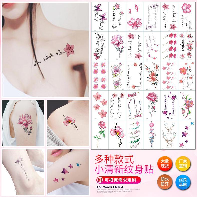 30pcs Literary and Art Small Fresh Letter Tattoos Waterproof Sweat  Disposable Tattoo Sticker Flowerbow Temporary Tattoo Sticker