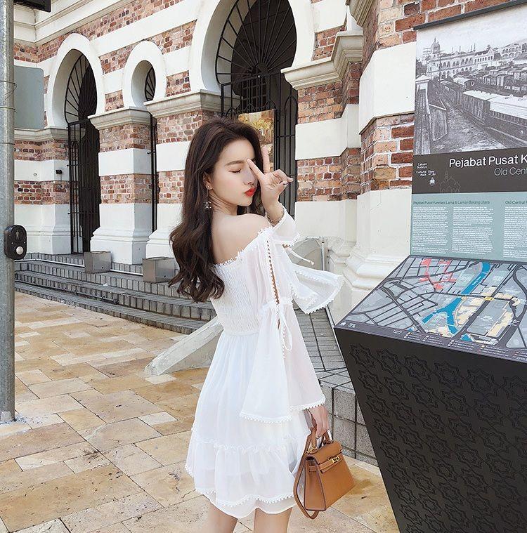 77906000c2 2019 2018 Summer Vacation Skirt Chiffon Shoulder Beach Skirt Short Tube Top  Off Shoulder Halter Dress Skirt From Dl1111, $28.5   DHgate.Com