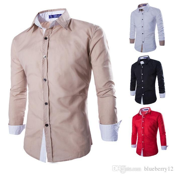 Compre 2018 Camisas De Manga Larga Para Hombres Ocasionales Camisas De  Vestir De Dos Colores Angostas Para Camisas Camisa De Negocios De Un Solo  Pecho Con ... 51fb01edfe3