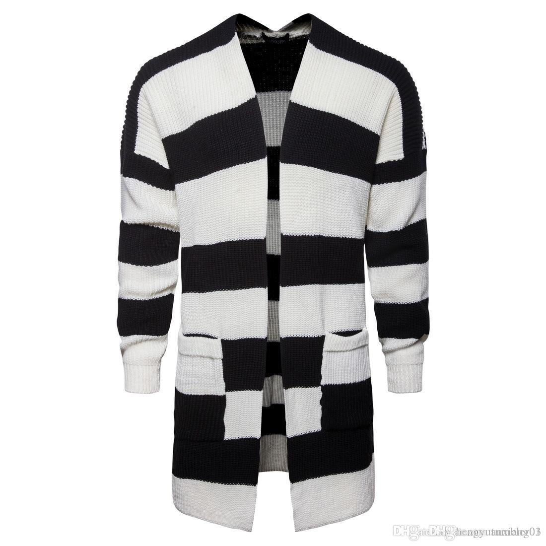 a2cf7466bbf 2018 European and American autumn men s cardigan jacket, black and white  striped knitted sweater wholesale and retail