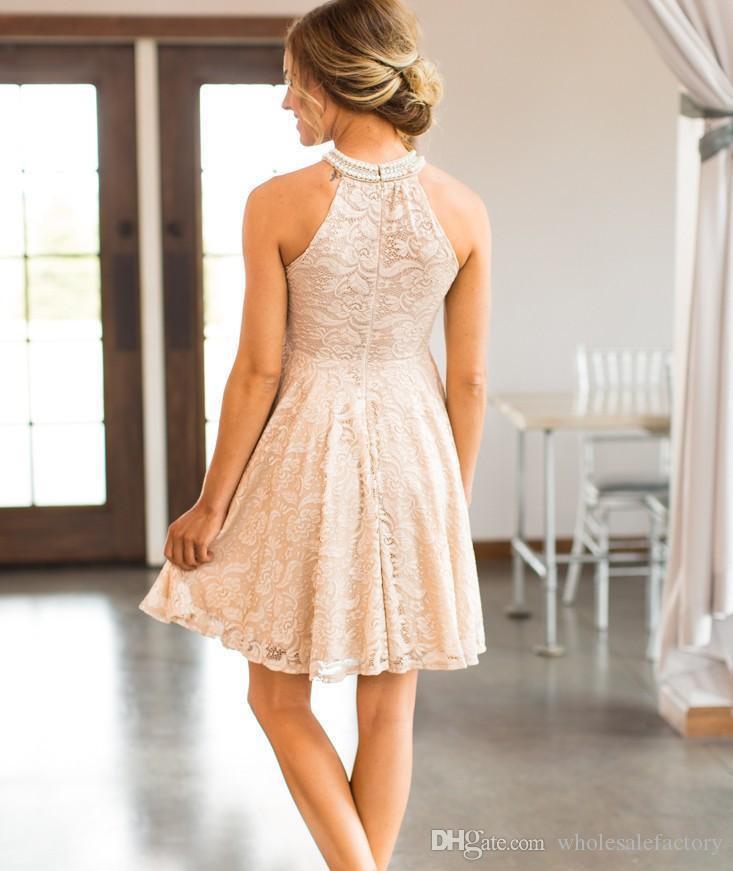 Холтер кружева длиной до колен A Line Платья для подружек невесты бисером короткая свадьба гость платья подружки невесты