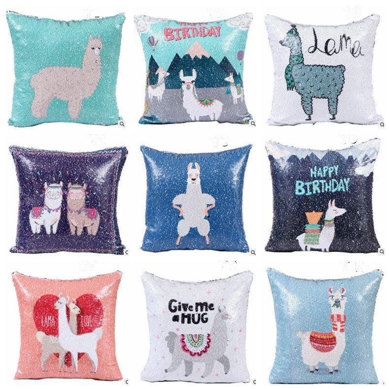 Sequins Pillow Covers DIY Alpaca Throw Pillow Case Decorative Simple Diy Decorative Pillow Covers