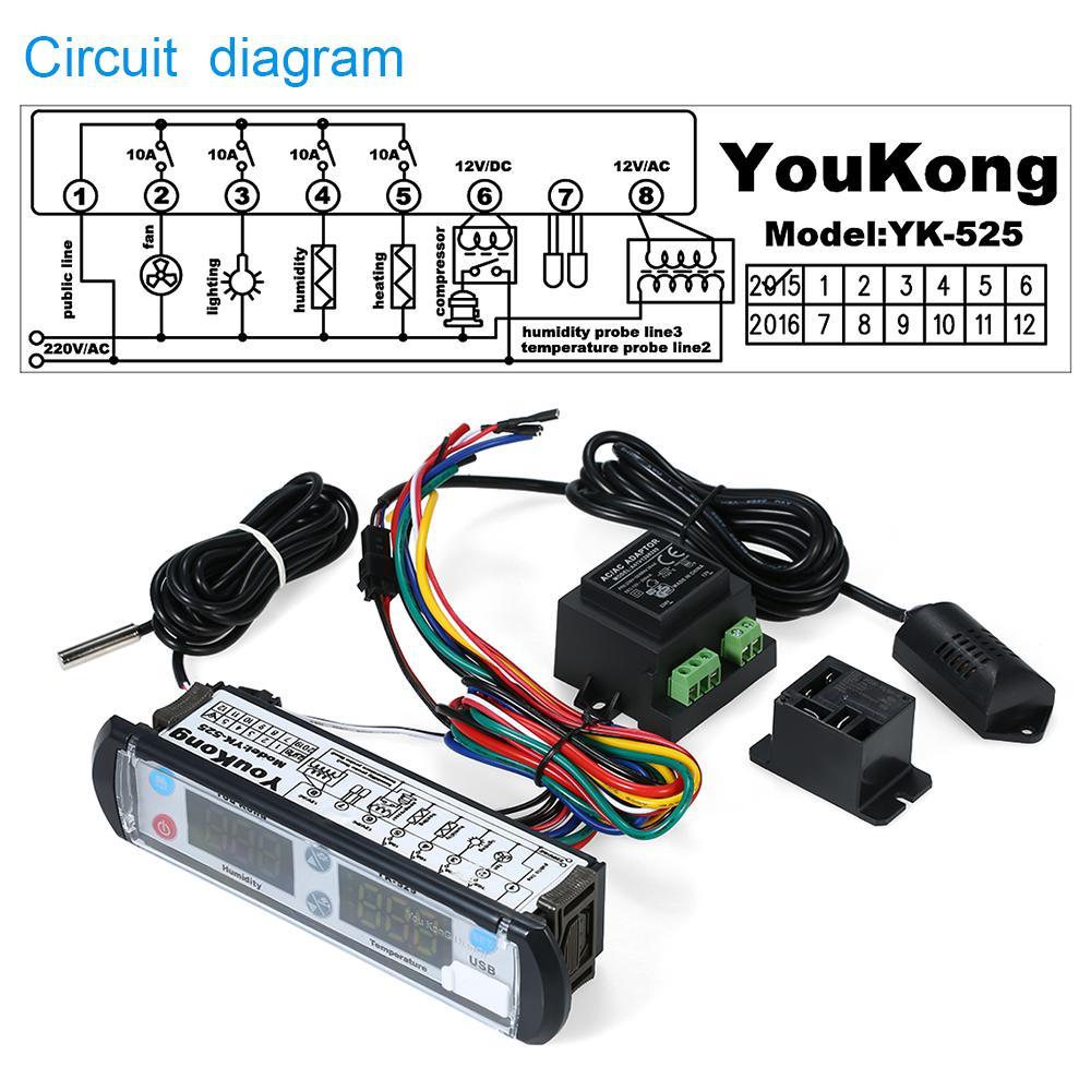 Regulador termal del regulador del higrostato del regulador del regulador del higrostato de la temperatura de la humedad digital del regulador del registrador 220V