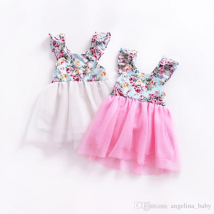 Verão Novos Estilos Meninas Vestido INS Baby Girl Partido Floral Princesa Vestidos Crianças Moda Flor Lace Tutu Vestido 2 Cores For1-4years
