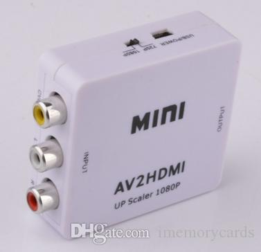 Vendita calda Mini HDMI Converter AV RCA Digital to Analog Converter AV Audio Video Factory Outlet HDMI2AV 1080P US Spedizione gratuita