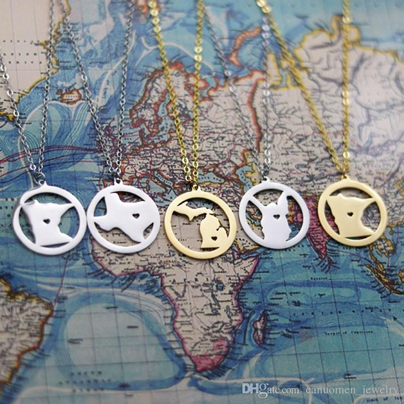 US Map New York States Pendant Necklaces New York Charm Country Necklace Rose Gold Stainless Steel Love Hometown Gift Jewelry Wholesale