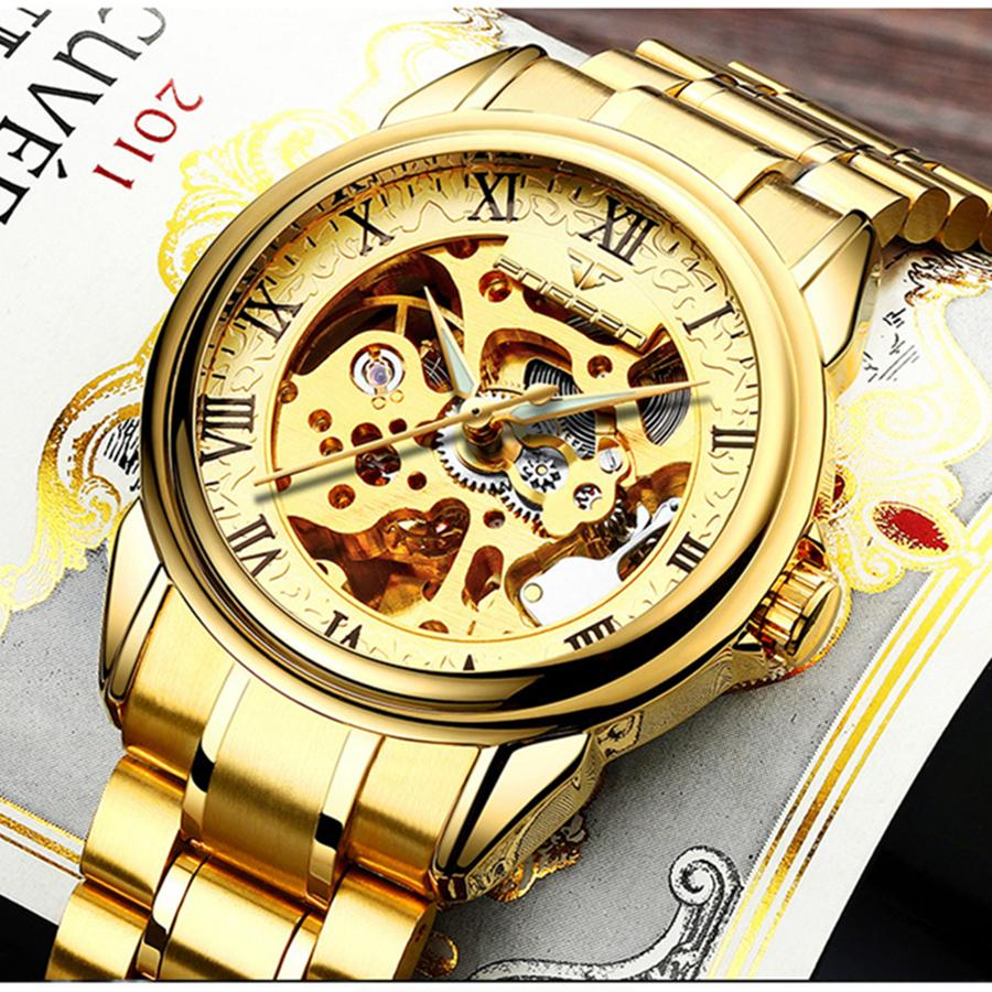 FNGEEN Men  Skeleton Automatic Winding Mechanical Watches Gold Stainless Steel Waterproof Wristwatch Male Time hours 8866G