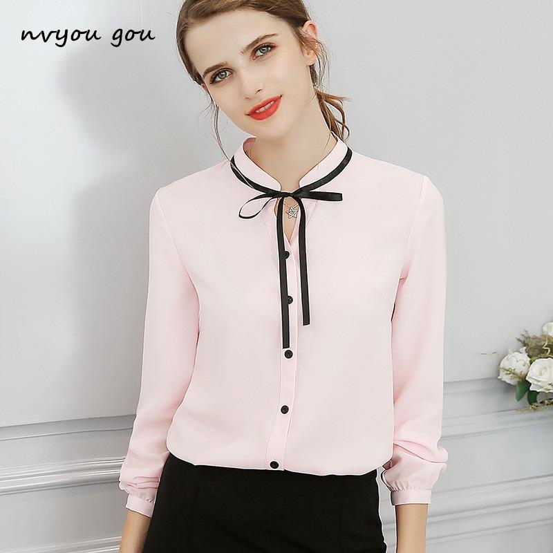 472a75aef9e1 venta al por mayor elegante manga larga corbata de lazo blusa de gasa rosa  y blanco 2018 desgaste del trabajo blusa de oficina mujeres OL ocasional de  ...