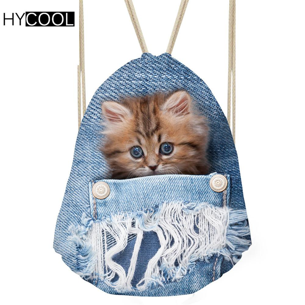 782da264e4e3 2019 HYCOOL Women Gym Bag For Fitness Sports Backpack Denim Cat Printed Men  Outdoor Sporting Bags Lady Shoes Storage Pack Yoga Bags From Longanguo
