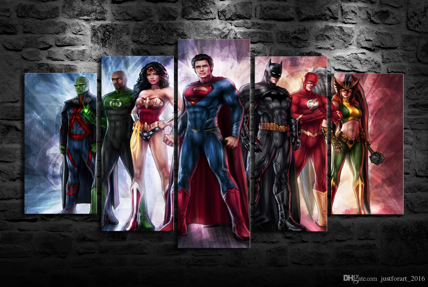 2018 Newest HD Printed Justice League Oil Painting Home Decoration ...