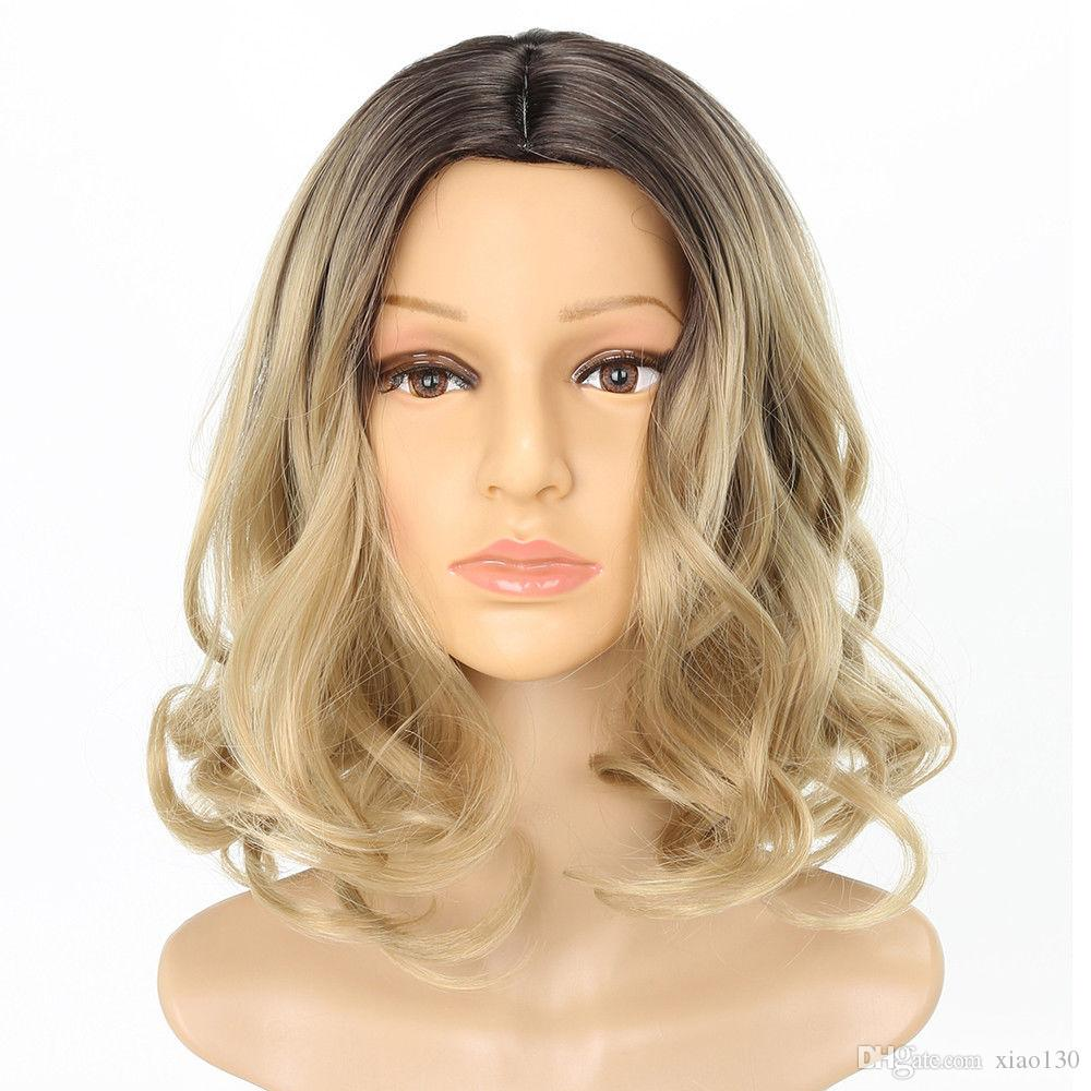 7810311db Medium Length Fashion Fluffy Wavy Dark Root Blonde Synthetic Hair Wig For  Women Remy Full Lace Wigs Wholesale Lace Wigs From Xiao130, $19.08|  DHgate.Com