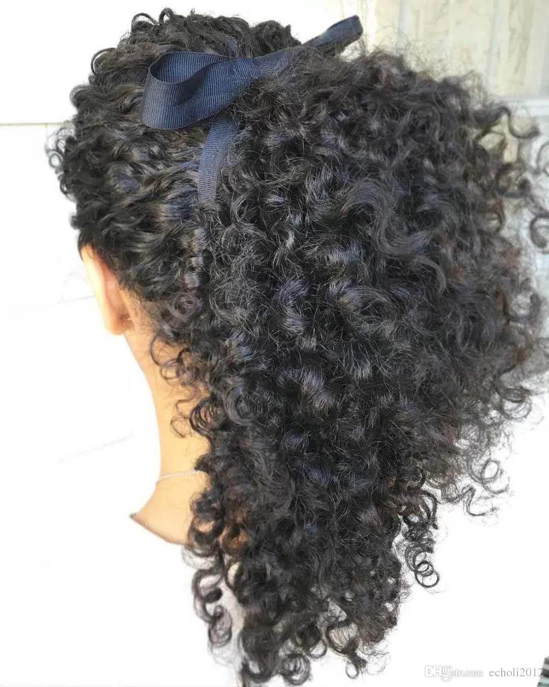 100% Brazilian Clip In Human Ponytail Hair Extensions Kinky Curly Drawstring ponytail afro puffs Virgin curly ponytails 1b 140g for sale
