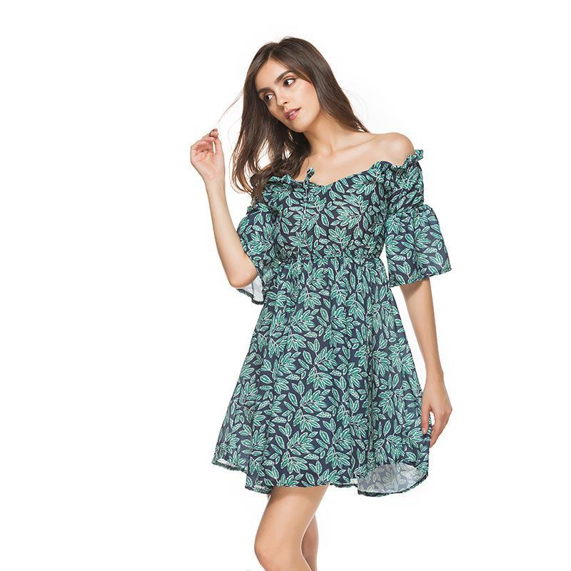 a9a5e14208 Floral Summer Dress Women Cold Cut Out Shoulder Green Leaves Flower Print  Girl Sundress Fashion Elegant Party Dress Green Dresses Cheap Summer Dresses  From ...