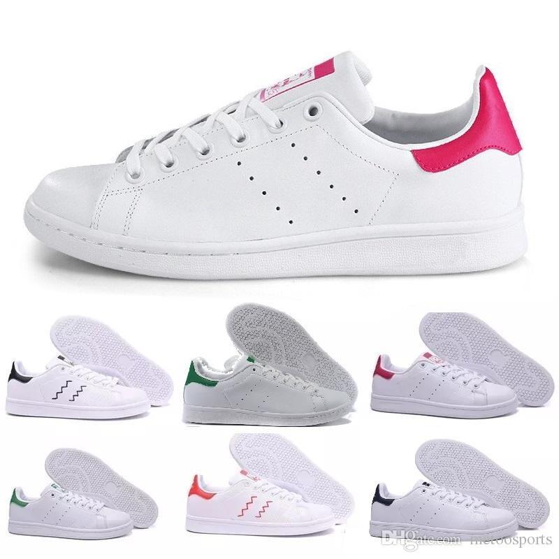 430c6384e1263 Compre 2018 Raf Simons Stan Smith Primavera De Cobre Branco Rosa Preto  Sapato Da Moda Homem De Couro Casual Sapatos De Mulher Da Marca Flats  Sneakers 36 44 ...