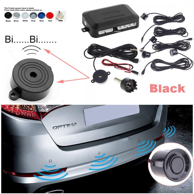 YYZSDYJQ Car 4 Parking Sensors Parktronics Black/white/gold /silver 7  colors 22mm Reverse Backup RadarS Sound Buzzer Beep Alarm