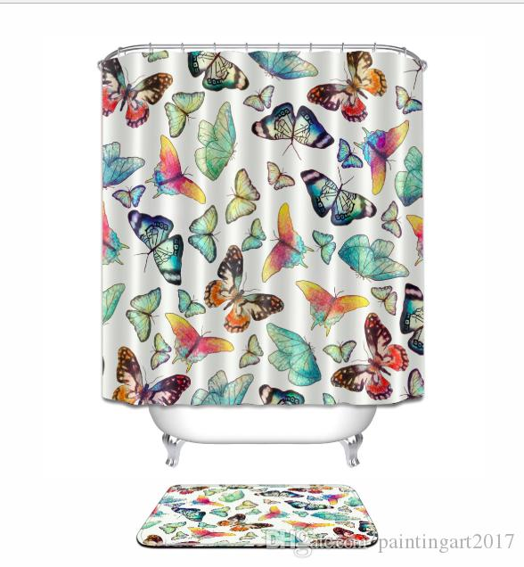 2018 New Polyester Fabric Shower Curtain Nice Waterproof Home Bathroom Curtains Butterfly Bath Floor Mats Sets For Decor From