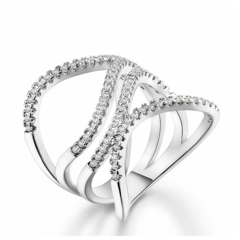 Fashion Jewelry Ring Female Platinum Electroplated Transparent Zircon Without Nickel Lead-free Cadmium Free Anniversary Women R591