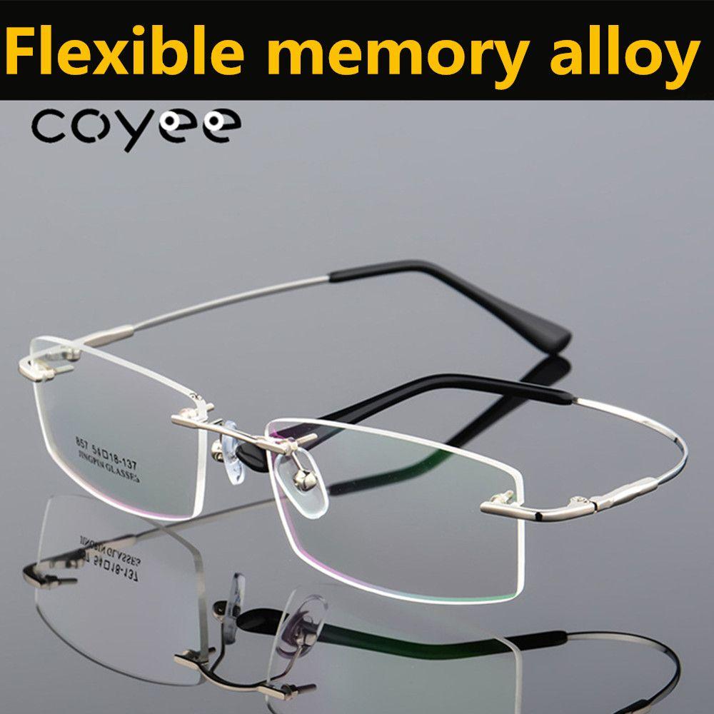 ad684b927add Coyee Flexible Memory Alloy Rimless Drilled Glasses Women Men Optic ...