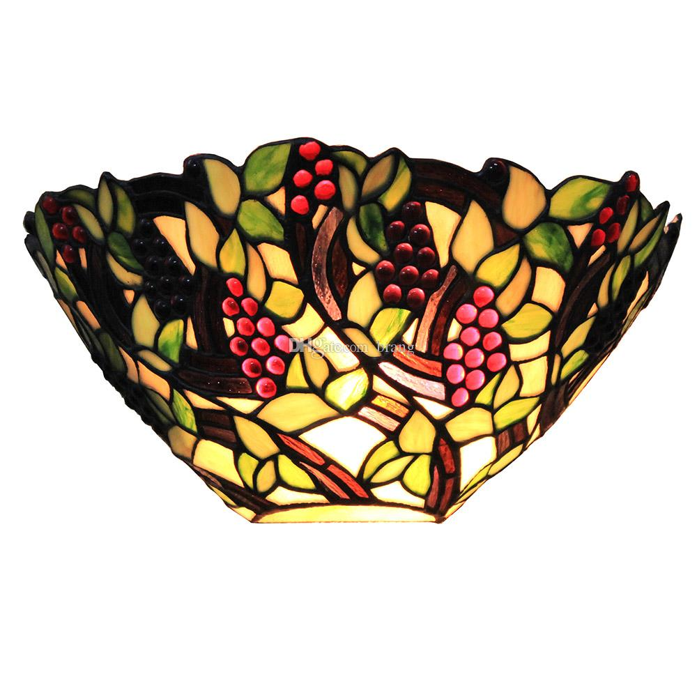 Grape Tiffany Style Wall Sconce Stained Glass Wall Light 12 Inch Width Decorative Indoor Lighting For Home