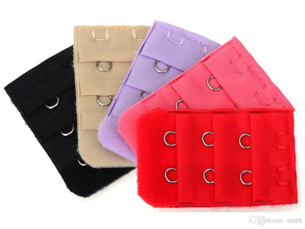 Ladies Girls 2 Hooks Bra Strap Long Extender Hook Clip Nude Adjustable Belt Mix Color