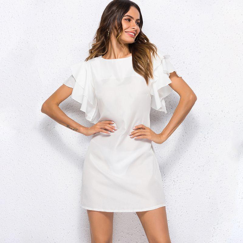 a6edf18c188 Acheter 2019 Mini Robes Femmes Mode Casual Robe De Soirée D été Solide O  Cou Volants Plage Élégante Boho Sexy Robe Robes De  23.18 Du Bibei05