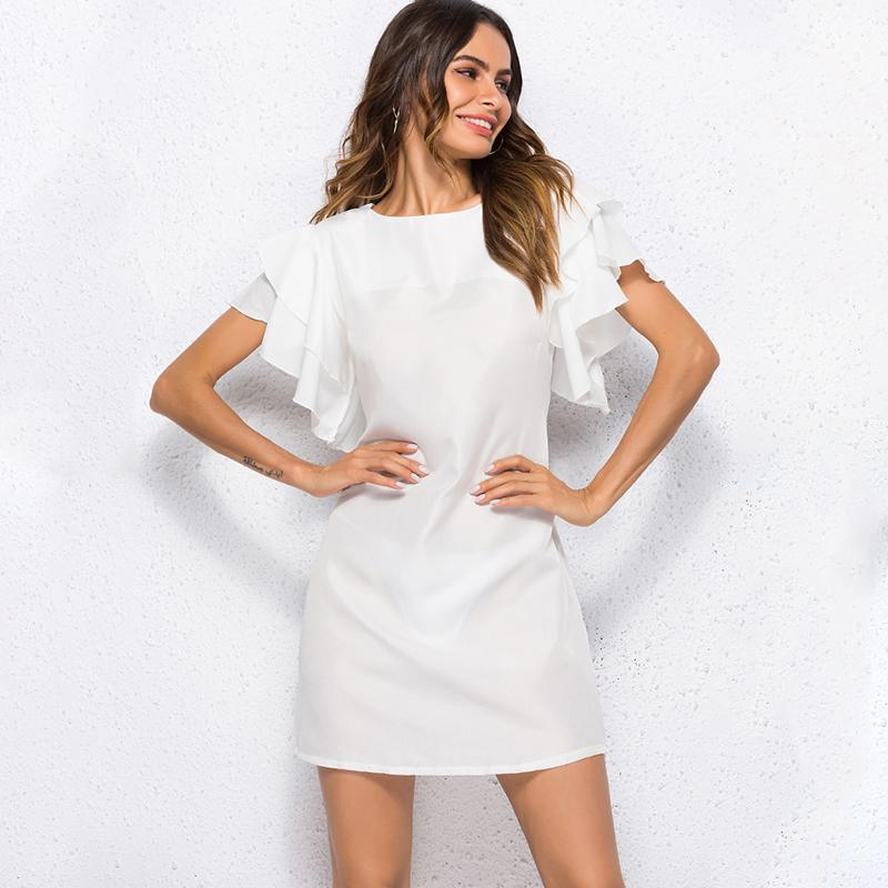 29164629104 Compre 2019 Mini Vestidos Mujer Moda Casual Summer Party Dress Solid ...