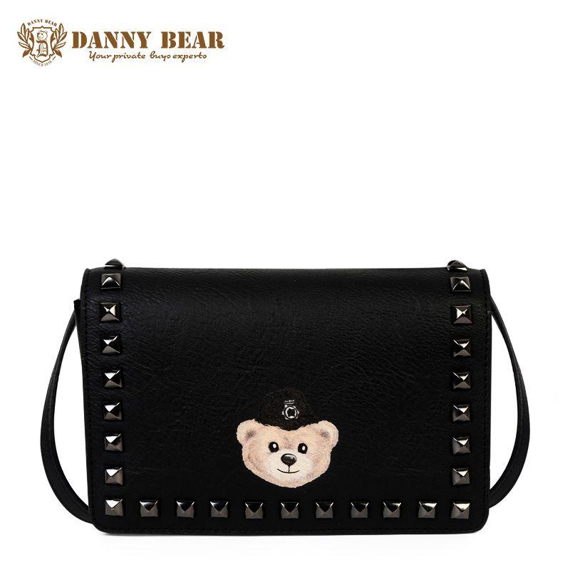 fa302cad47 DANNY BEAR Women Black School Messenger Bags Girls Fashion Korean Leather Crossbody  Bag Small Vintage Rivet Shoulder Bag Bolsa Ladies Bags Backpack Purse ...