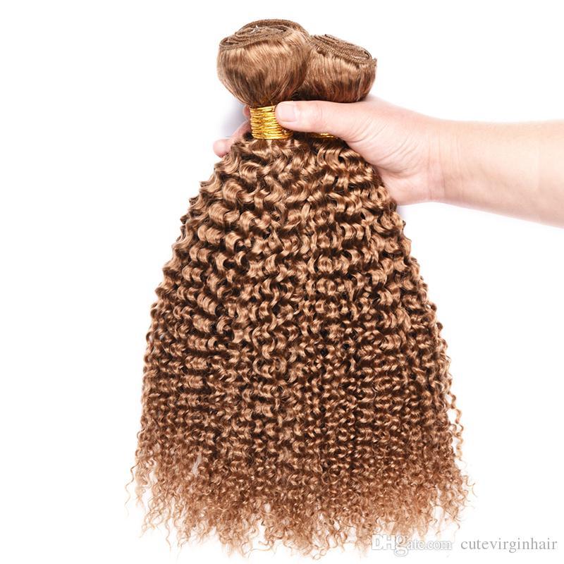 브라질 꿀 금발 인간의 머리카락 3 번들 Kinky 곱슬 말레이시아 페루 27 # 순수한 색깔 곱슬 버진 인간의 머리카락 extensions