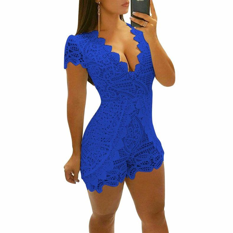 buy popular 6c7c9 0daeb Großhandel Sommer Frau Overall Spitze feste V-AUSSCHNITT-Bodysuit  Regelmäßige beiläufige Blumen Spielanzüge sexy Shorts Ärmel Mode Overalls  2018