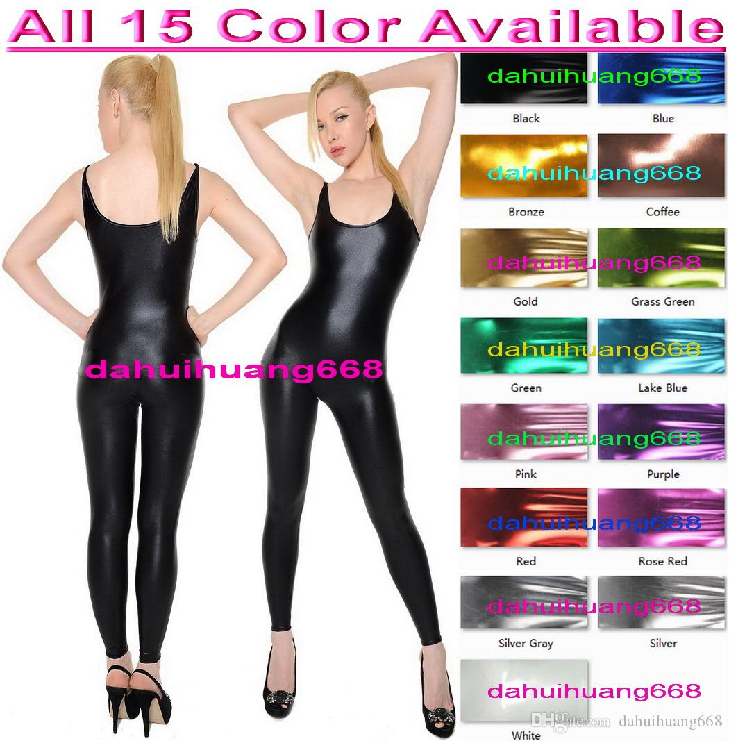 Sexy Bodysuit Costumes New 15 Color Shiny Lycra Metallic Suit Catsuit Costumes Unisex Sexy Body Suit Halloween Party Cosplay Costumes DH073