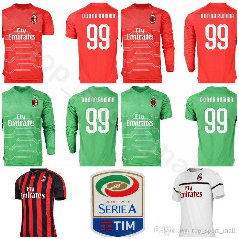 01dfa1d54 ... reduced 2018 7 champions fc goalkeeper ac milan 99 gianluigi donnarumma  jersey men long sleeve soccer