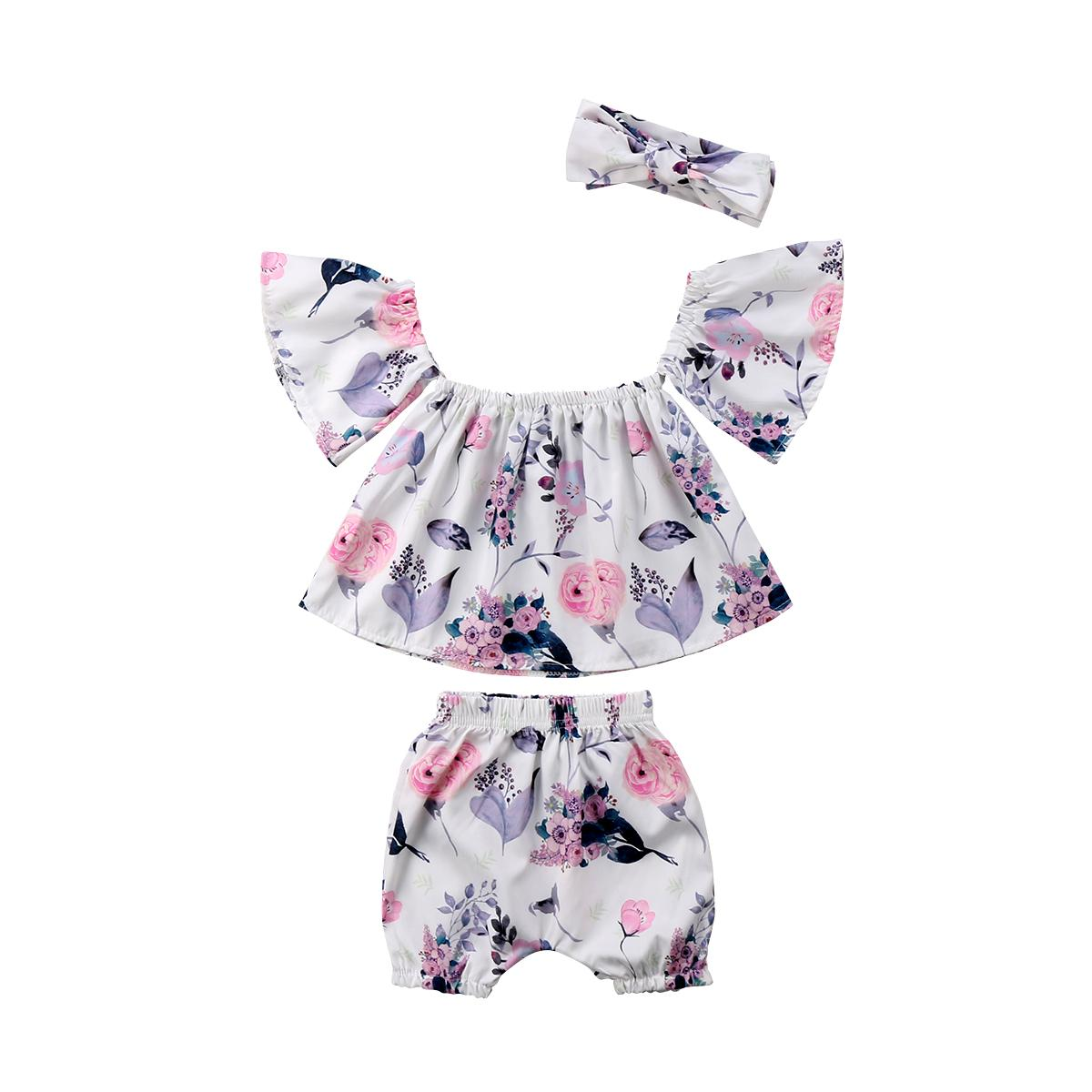 519022c07d3 2019 Newborn Baby Girl Flower Off Shoulder Top Shorts T Shirt Ruffles Bow  Knot Print Shorts Outfit Set Clothes From Orchidor
