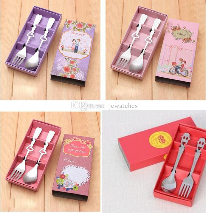 7 Style Heart Shape Stainless Steel Spoon Fork Set Tableware Cutlery Gift for Wedding Christmas Party