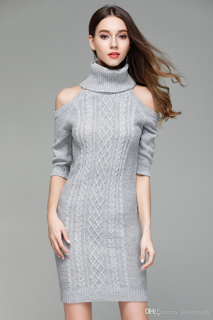 New Fashion Sexy Knit Dress For Womens Sweater Off The Shoulder