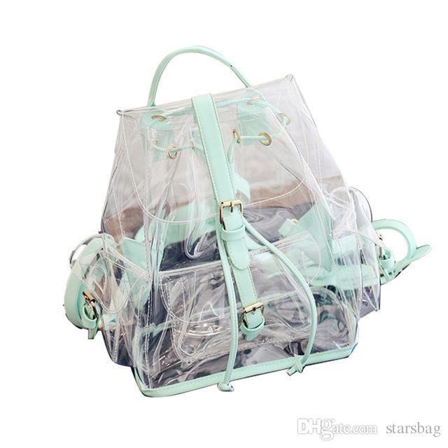 Transparent Female Backpack Clear PVC Lady Rucksack Teenager Girl School  Bags Soft Women Female Casual Daypack Mochilas Q 30 Boys Backpacks  Hydration ... 201ae2f967