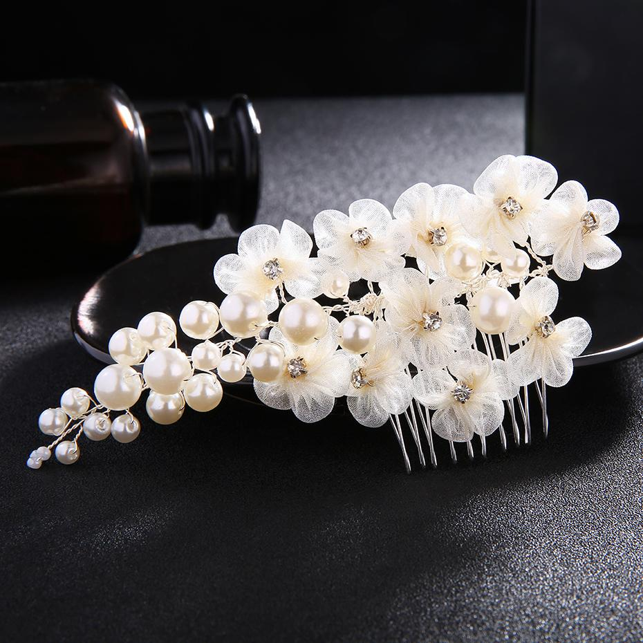 2018 Newest Wedding Big Peals Hair Combs For Women Ivory White Lace