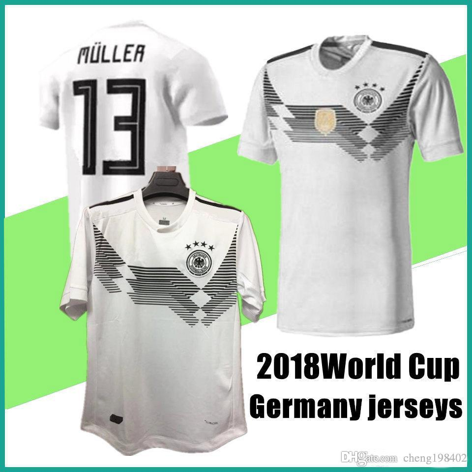 c0e3bb91a New Germany Soccer Jerseys 2018 World Cup Home White Germany Football Shirt  Customize 2017 MULLER OZIL GOTZE REUS KROOS HUMMELS Men Uniforms UK 2019  From ...