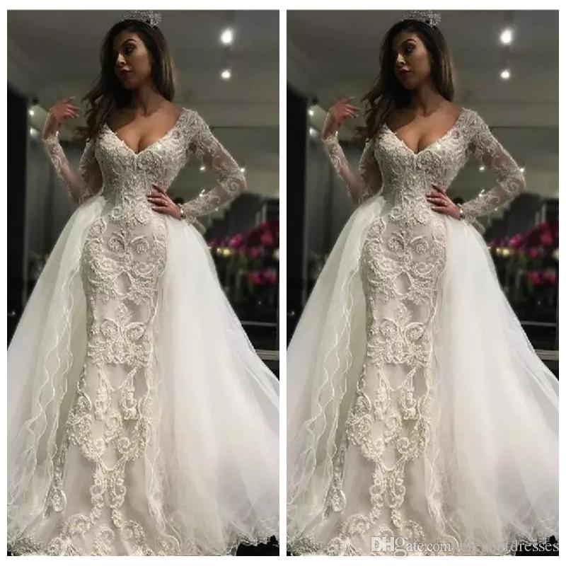 2019 Two Piece Long Sleeves Wedding Dresses With Detachable Train