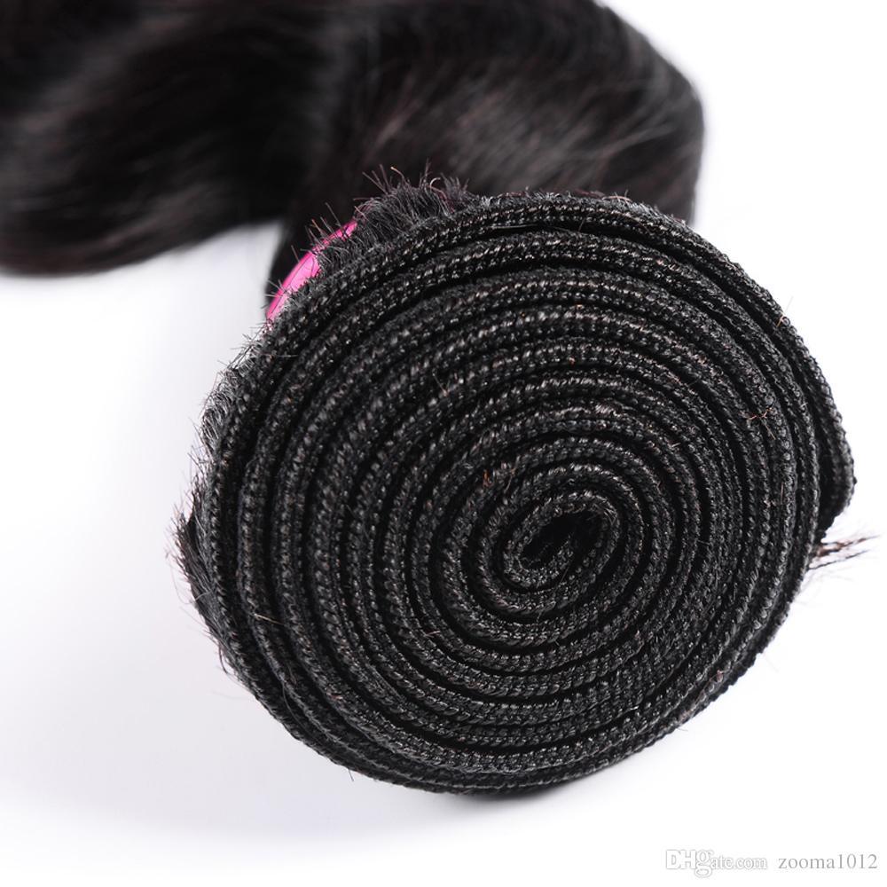 7A Vergine brasiliana dell'onda del corpo dei capelli tessuto peruviano tessuto fasci capelli malesi indiana non trasformati trama dei capelli 1b nero estensione a buon mercato