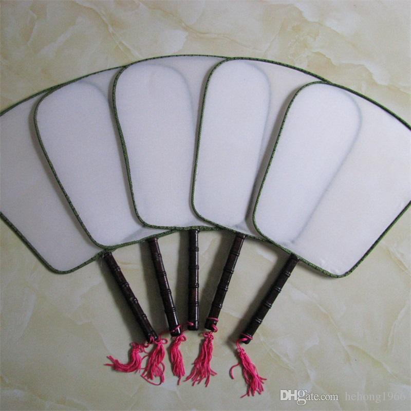 DIY Blank White Silk Hand Fans Mit Griff Student Kinder Hand Malerei Fine Art Programme Chinesische Vintage Runde Fan 1 6xx Z