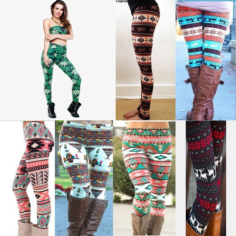 ccd94a7d60ecc ful Christmas Snowflakes Reindeer Printed Silk Legging Girls Women ...