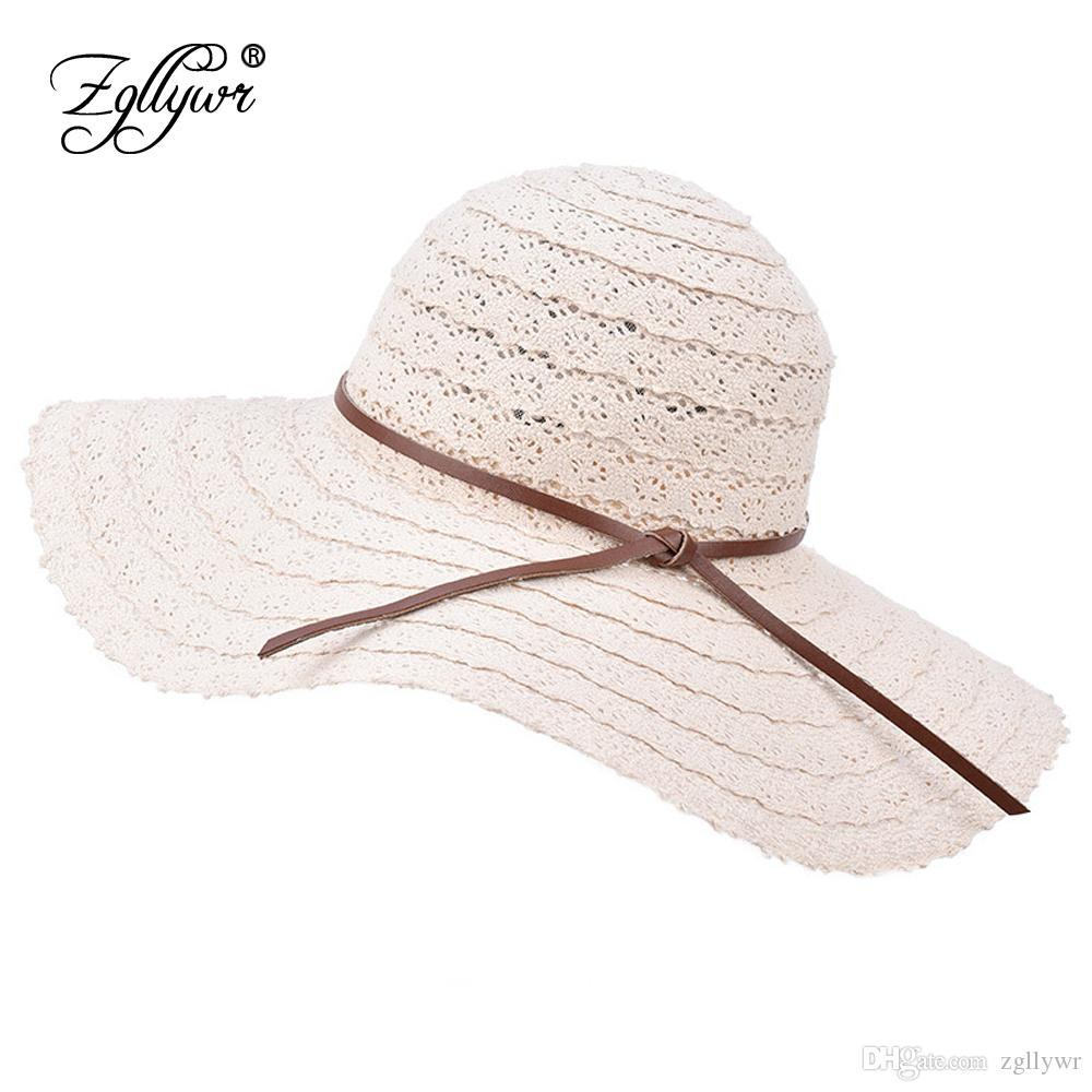 Zgllywr Summer Beach Sun Hats For Women UPF Woman Foldable Floppy Travel  Packable UV Hat Cotton Wide Brim Fedora Dress Cap Cover Knit Hats Bailey  Hats From ... 31b9ad2e46cc